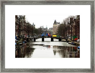 Amsterdam Canal Framed Print by John Rizzuto