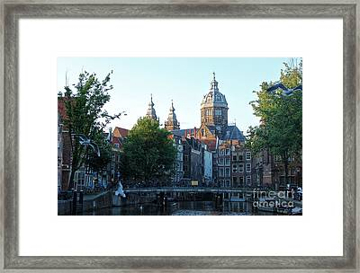 Amsterdam Canal View - 02 Framed Print by Gregory Dyer