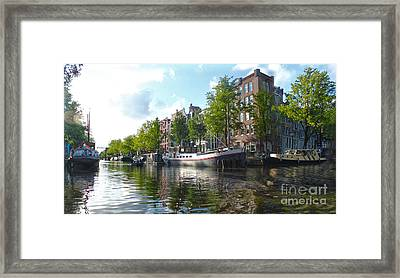 Amsterdam Canal View - 03 Framed Print by Gregory Dyer