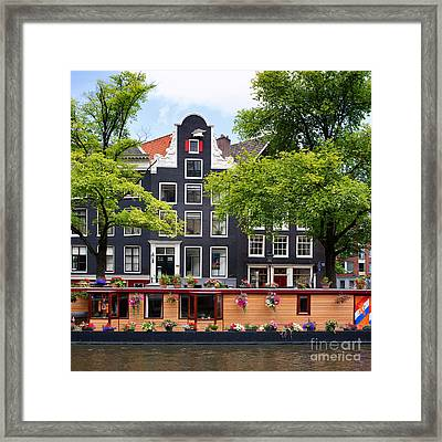 Amsterdam Canal With Houseboat Framed Print by Jane Rix