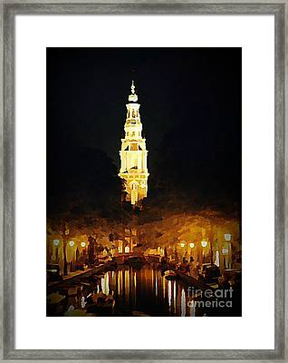 Amsterdam Church And Canal Framed Print by John Malone
