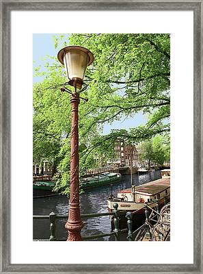Amsterdam, Holland, Old Gas Lamp Post Framed Print