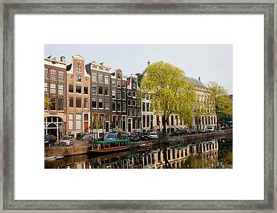 Amsterdam Houses Along The Singel Canal Framed Print