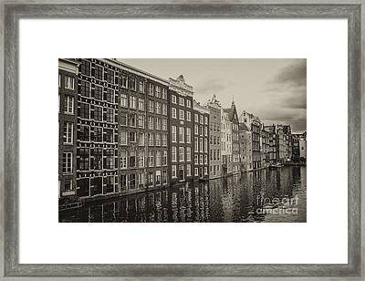Amsterdam Houses On A Canal Framed Print