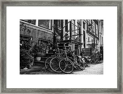 Amsterdam Street Scene In Black And White Framed Print by Stuart Renneberg