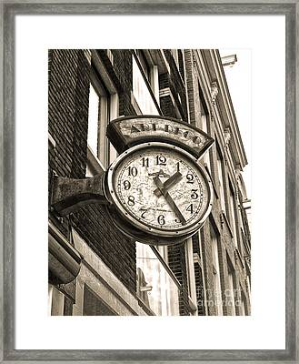 Amsterdam Vintage Deco Clock Sign In Sepia Framed Print by Gregory Dyer