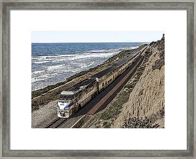 Amtrak By The Ocean Framed Print
