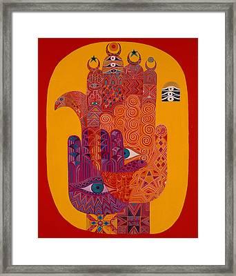 Amulets, 1992 Acrylic On Canvas Framed Print by Laila Shawa