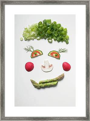 Amusing Face Made From Vegetables, Dill And Mushroom Framed Print