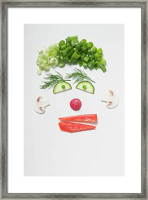 Amusing Face Made From Vegetables, Dill And Mushrooms Framed Print