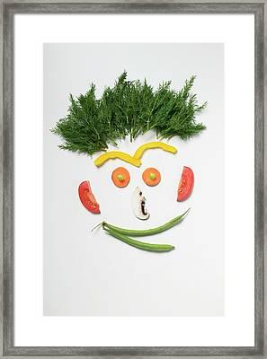 Amusing Face Made From Vegetables, Rosemary And Mushroom Framed Print