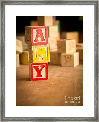 Amy - Alphabet Blocks Framed Print by Edward Fielding