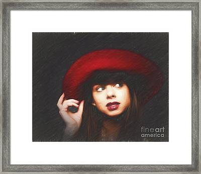 Amy And The Red Hat  ... Framed Print