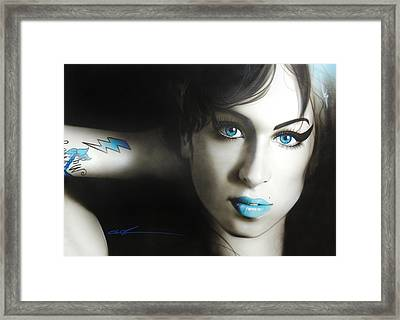 Amy Winehouse - ' Amy 'n' Blues ' Framed Print by Christian Chapman Art