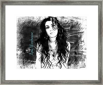 Amy Winehouse Framed Print by Barbara Chichester