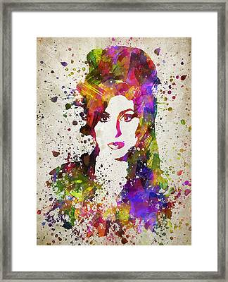 Amy Winehouse In Color Framed Print by Aged Pixel