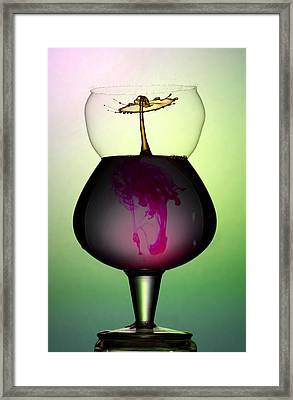 An Abstract Form Inside Breaking Bubble Created With Liquid Framed Print