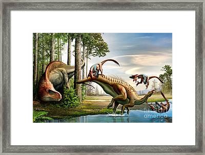 An Acrocanthosaurus Observes Framed Print by Mohamad Haghani