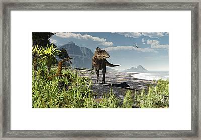 An Acrocanthosaurus Roams An Early Framed Print by Arthur Dorety
