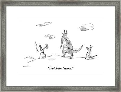 An Adult Dragon Instructs His Child Dragon Framed Print by Michael Maslin