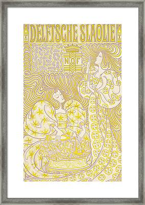 An Advertising Poster For Delft Salad Oil Framed Print by Jan Theodore Toorop