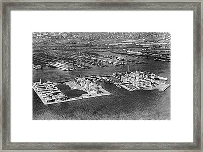 An Aerial View Of Ellis Island Framed Print
