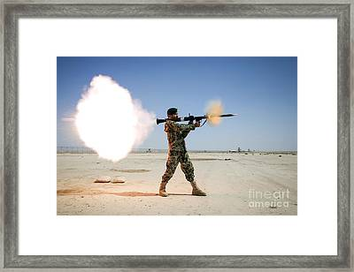 An Afghan National Army Soldier Fires Framed Print