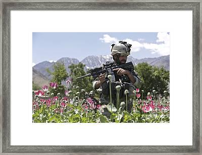 An Afghan National Army Soldier Patrols Framed Print