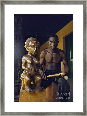 An African Wood Carver And His Statue In Mali 1959 Framed Print
