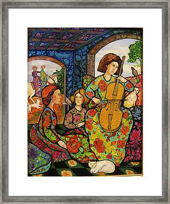 An Afternoon In Colors With Birds  Framed Print by Marilene Sawaf