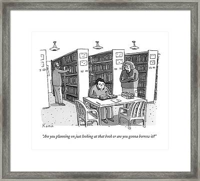 An Aged Librarian Speaks To A Man Reading A Book Framed Print