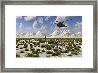 An Ah-64 Apache Black Ops Helicopter Framed Print by Mark Stevenson