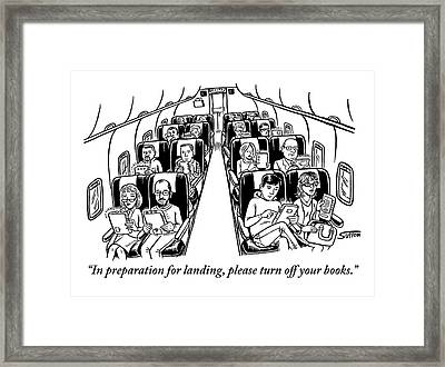An Airplane Is Seen Full Of Passengers Holding Framed Print by Ward Sutton
