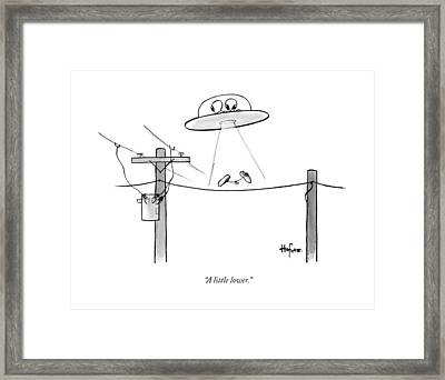 An Alien Space Craft Lowers Two Sneakers Tied Framed Print