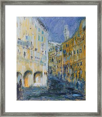 An Alleyway In Florence, 1995 Oil On Canvas Framed Print by Patricia Espir