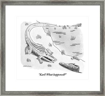 An Alligator Is Seen Speaking To An Framed Print