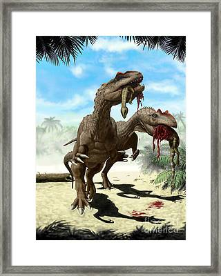 An Allosaurus And A Hypsilophodon Find Framed Print by Yuriy Priymak