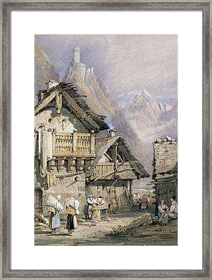 An Alpine Village Framed Print by Samuel Prout