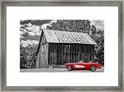 An American Barn 3 Bw Framed Print by Steve Harrington
