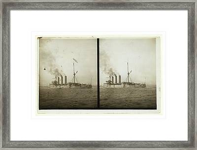 An American Cruiser Arriving In New York Framed Print by Litz Collection