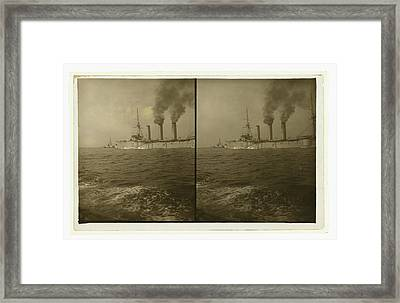 An American Cruiser Being Guided By A Tugboat Framed Print by Litz Collection
