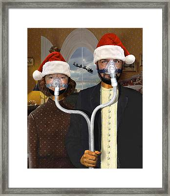 An American Gothic Sleep Apnea Merry Christmas Framed Print