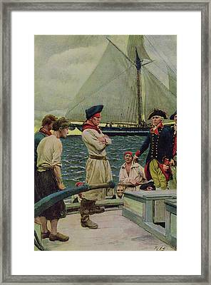 An American Privateer Taking A British Prize, Illustration From Pennsylvanias Defiance Framed Print by Howard Pyle