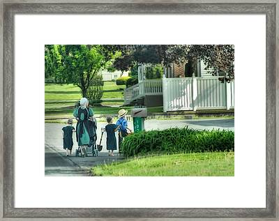 Little Amish Gardeners Framed Print by Dyle   Warren