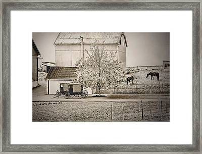 Framed Print featuring the photograph An Amish Farm In Sepia by Dyle   Warren