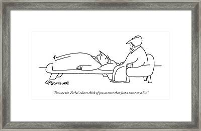 An Analyst Speaks To His Patient Framed Print by Charles Barsotti
