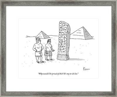 An Ancient Egyptian Mason Describes An Obelisk Framed Print