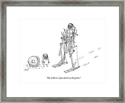 An Ancient Man In A Strange Walking Contraption Framed Print