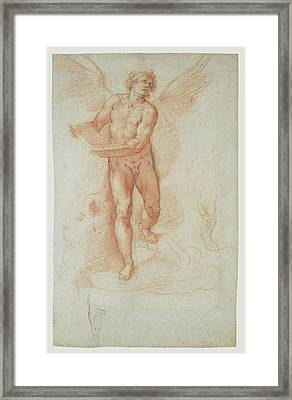 An Angel Holding A Book Recto,  Three Studies Of A Falling Framed Print by Litz Collection
