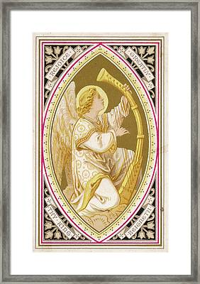 An Angel Plays A Harp          Date Framed Print by Mary Evans Picture Library